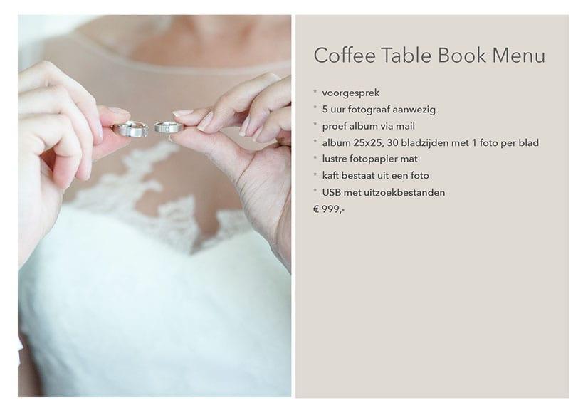 Door Danny Fotografie - Trouwreportage Coffee Table Book Menu